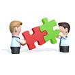 Zwei Geschäftsmänner mit Puzzle