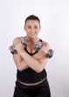 Young attractive woman lifting dumbbells