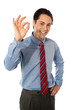 Male executive gesturing great ok sign