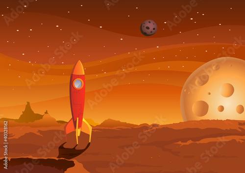 spaceship-on-martian-landscape