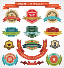 Vintage labels and ribbon retro style set design elements