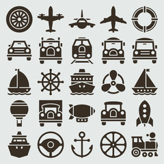 Vintage retro icons transport set vector design elements