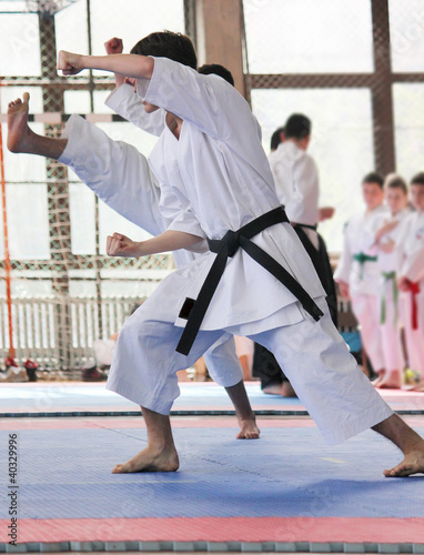 Man on the karate training
