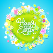 Easter card with calligraphic inscription and flowers. Vector
