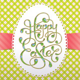 Vintage Easter card with calligraphic inscription and paper egg