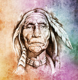 Sketch of tattoo art, portrait of american indian head over colo