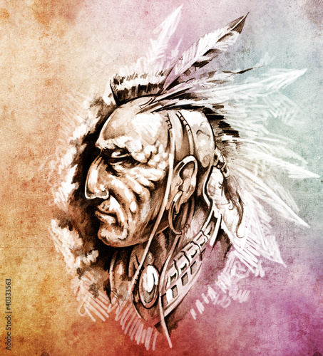 Sketch of tattoo art, American Indian Chief illustration over co