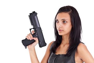 woman is aiming a handgun