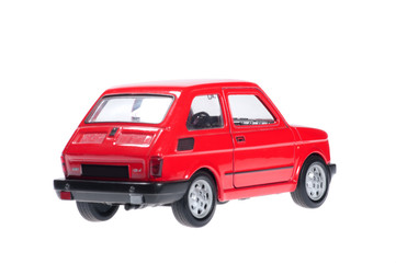 Little red car on white background