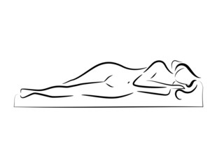 vector sleeping beautiful nude woman silhouette