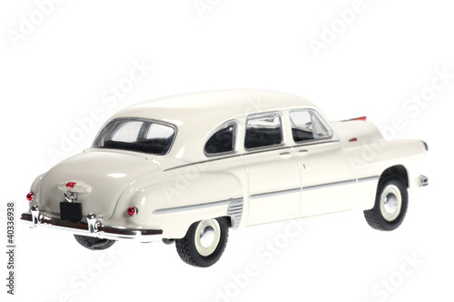 White retro car on white bacground.