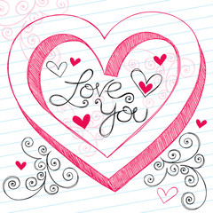 Love You Heart Sketchy Doodle Valentine's Day Design