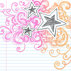 Stars Sketchy Doodles Back to School Vector Design Elements