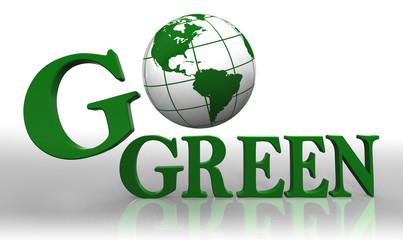 go green logo word and earth globe