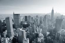 New York City skyline noir et blanc