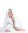 Cute baby girl with towel isolated on white