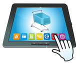 vector tablet pc with shopping cart icon