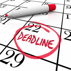 Deadline Word Circled on Calendar Due Date