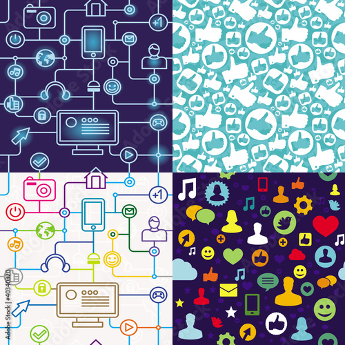 r seamless pattern with social media icons