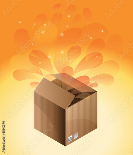 delivery box on orange background