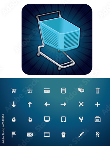 icon set with shopping cart