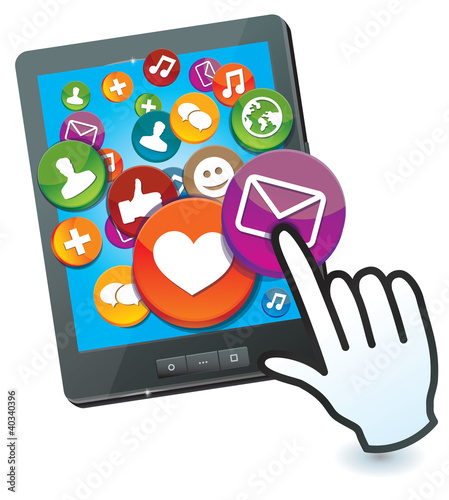tablet pc with social media icons