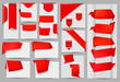 Big collection of red origami paper banners and stickers  Vector