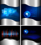 Fototapety Big set of abstract technology and business backgrounds. Vector