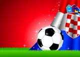 Vector illustration of a soccer ball with Croatia insignia poster