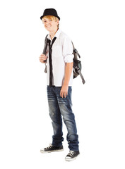 teen boy with backpack on white background