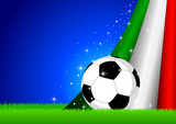 Vector illustration of a soccer ball with Italy insignia poster