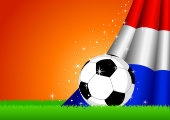 Vector illustration of a soccer ball with Netherlands insignia