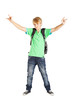 teen boy full length portrait over white background