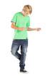 Detaily fotografie dospívající chlapec, tanec s hudbou, izolovaných na bílém