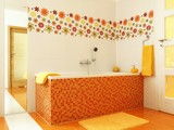 Fototapety Modern bathroom in orange color