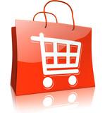 Einkaufstasche mit Einkaufswagen, rot