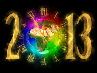 Happy new year 2013 - Europe, Africa, Asia
