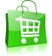 Einkaufstasche mit Einkaufswagen, grün