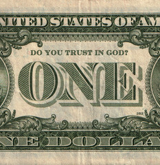One U.S. dollar banknote with question Do You trust in God?