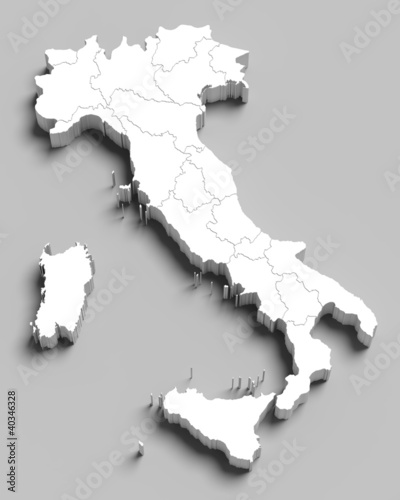 3d Italy white map on grey