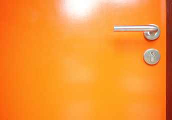 orange door with Metal door handle