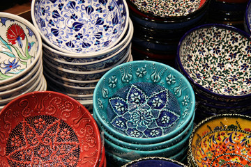 Ceramics at Grand Bazaar in Istanbul, Turkey