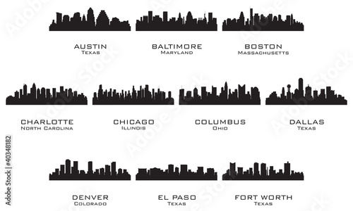 Silhouettes of the USA cities_1