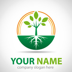 Logo green tree, the origins # Vector