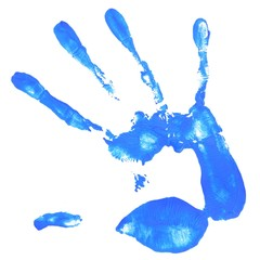 hand print with blue color
