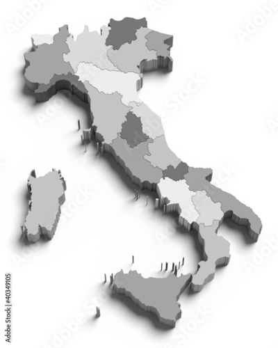 3d Italy grey map on white
