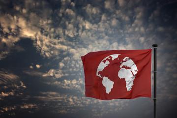 Welt Karte Fahne