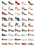 Fototapety Collection of various types of female shoes over white
