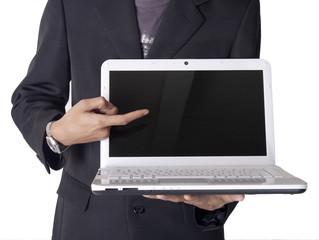 businessman interface notebook