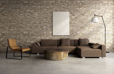 Concrete brick wall village interior, vintage design style